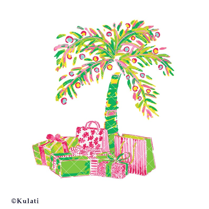 Instant Download Preppy Christmas Palm Tree Clipart Etsy