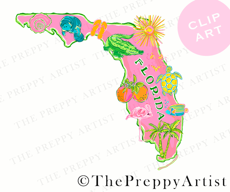photo relating to Printable Florida Map identify Preppy printable florida map clipart, florida clip artwork, turtle, oranges, manatee, preppy florida region map png, cricut print and reduce