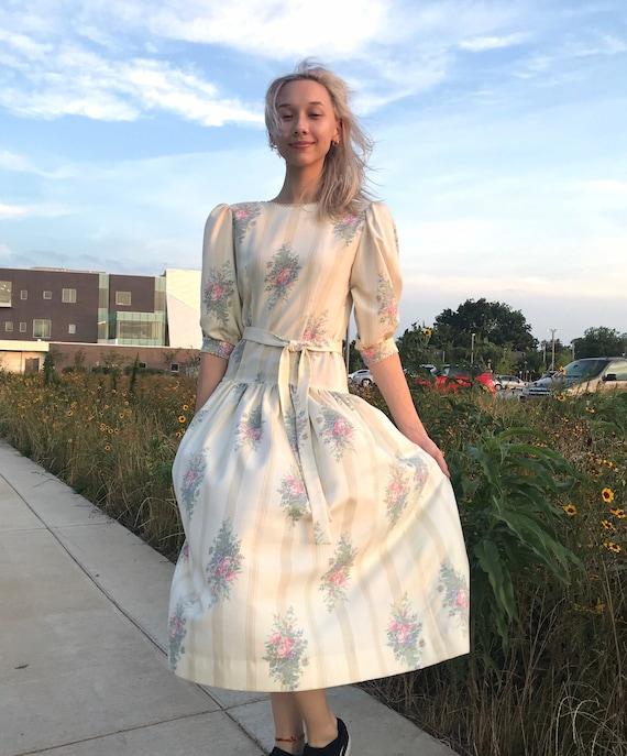 "Vintage 1980s ""Lanz"" drop-waist Romantic Dress//80"