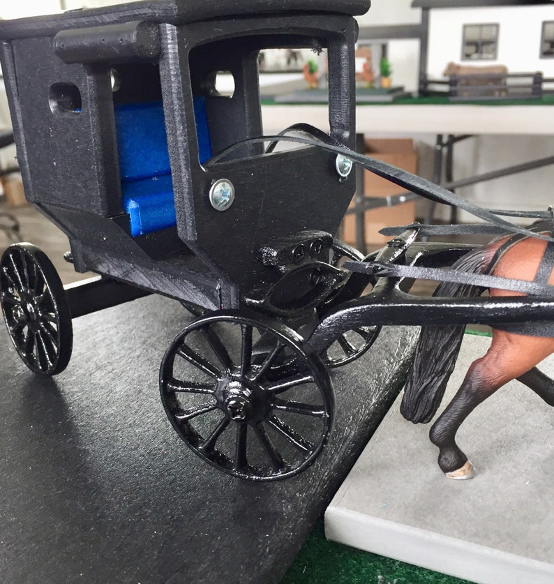 Amish BUGGY and Hanoverian Horse w/Leather Harness and Lines Kids &  COLLECTORS, Handmade Barns and Farm Play Sets and Childrens Toys