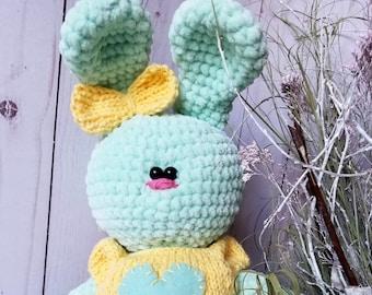 Plush Bunny Tilda Crochet bunny Baby gift Stuffed bunny Interior doll tilda Decorative doll Crochet gifts Easter bunny Clothes doll