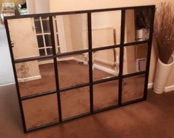 Black Industrial Window Style Mirror 98 x 66cm Bespoke Handmade