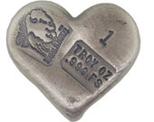 1 Troy Ounce .999 Fine Silver Hand Poured Heart Art Bar Bison Bullion