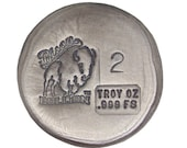 2 Troy Ounce .999 Fine Silver Hand Poured Round Art Round Bison Bullion - Customization Options Available