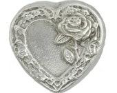 2 Troy Ounce .999 Fine Silver Hand Poured Rose Heart Art Bar Bison Bullion