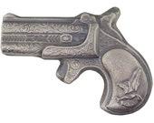 7 Troy Ounce .999 Fine Silver Hand Poured Derringer Pistol Gun Art Bar Bison Bullion