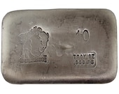 10 Troy Ounce .999 Fine Silver Hand Poured Standard Art Bar Bison Bullion - Customization Options Available