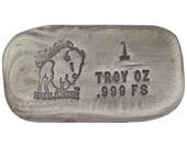 1 Troy Ounce .999 Fine Silver Hand Poured Standard Bar Bison Bullion