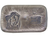 5 Troy Ounce .999 Fine Silver Hand Poured Standard Art Bar Bison Bullion - Customization Options Available