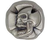 3 Troy Ounce .999 Fine Silver Hand Poured Iron Cross Skull Art Bar Bison Bullion