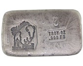 3 Troy Ounce .999 Fine Silver Hand Poured Standard Art Bar Bison Bullion - Customization Options Available