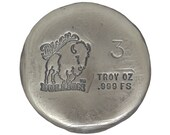 3 Troy Ounce .999 Fine Silver Hand Poured Standard Art Round Bison Bullion - Customization Options Available
