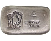 2 Troy Ounce .999 Fine Silver Hand Poured Standard Art Bar Bison Bullion - Customization Options Available