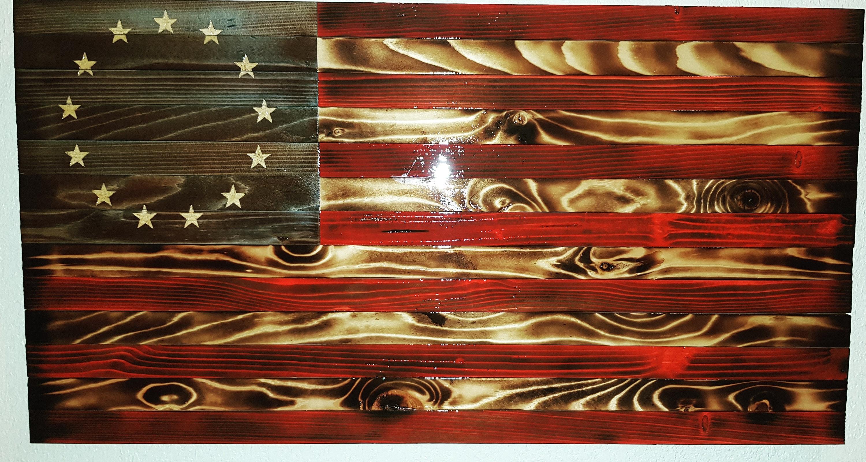 Medium Betsy Ross Charred Rustic American Flag
