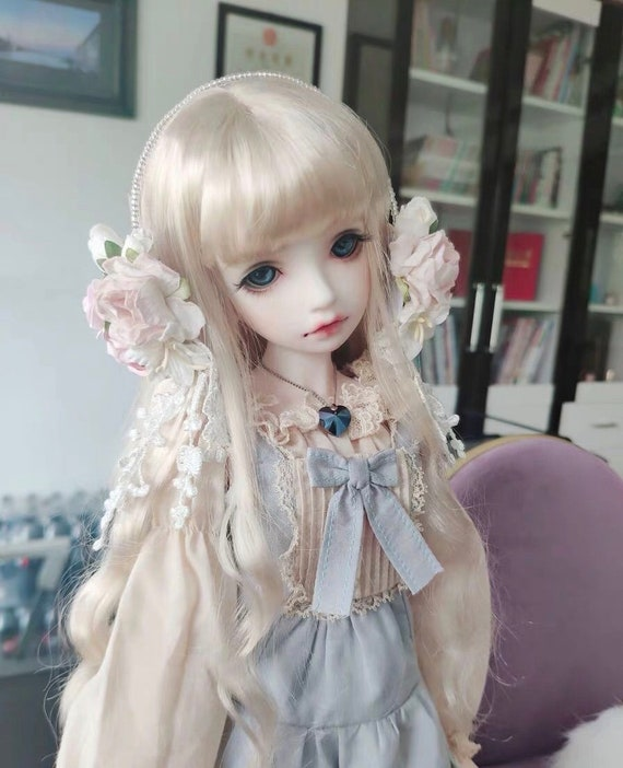 """8-9/"""" 1//3 BJD Hair IP SD doll wig Super Dollfie red boy slightly curled M-mohair"""