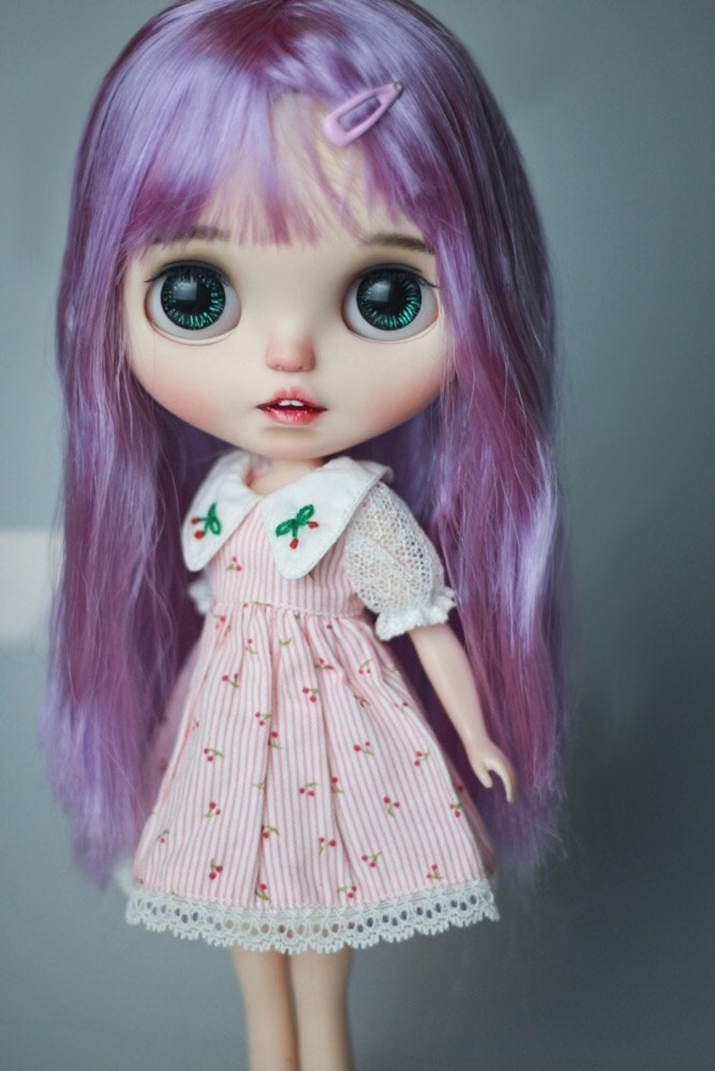 Blythe doll wig  with Scalp purple straight