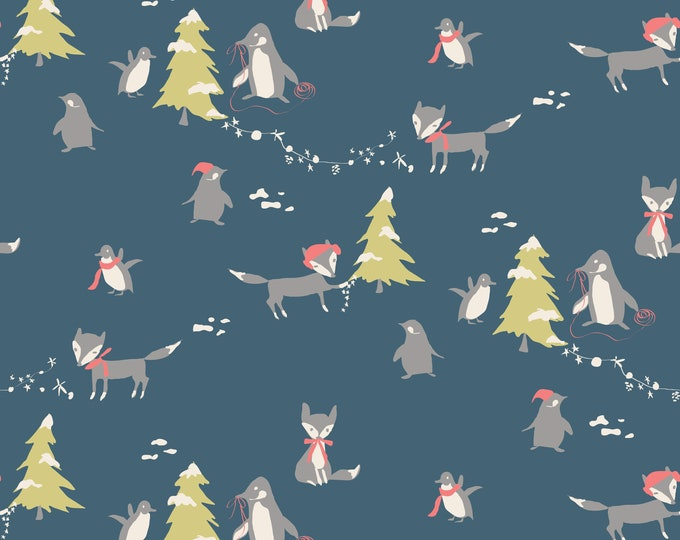 Winter Tales Blue Main, by Minki Kim for Riley Blake Designs