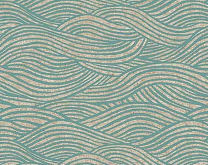 Surface - Waves aqua on tan linen/cotton by Amy Van Luijk for Figo