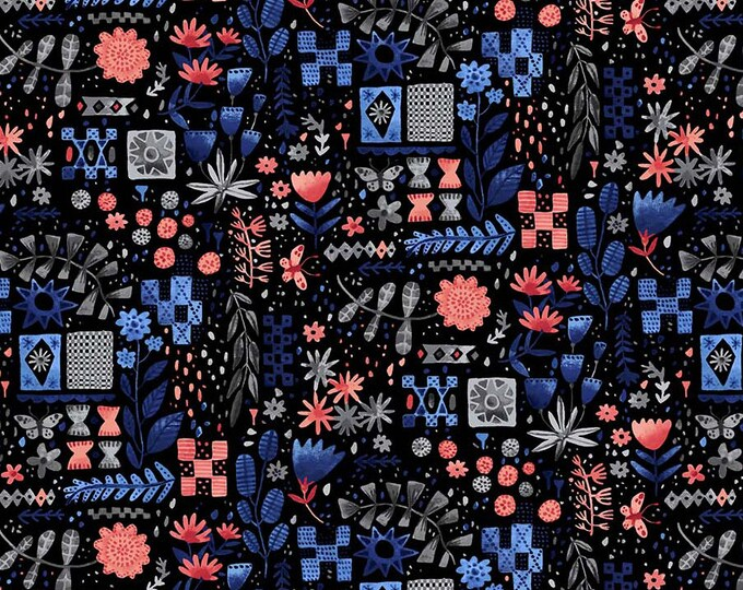 Eloise's Garden Tiles and Flowers Black and Pink by Abigail Halpin for Figo