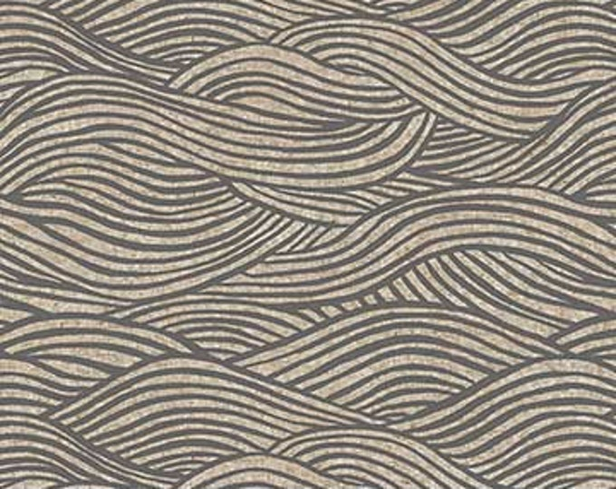 Surface Waves -gray on tan linen/cotton by Amy Van Luijk for Figo