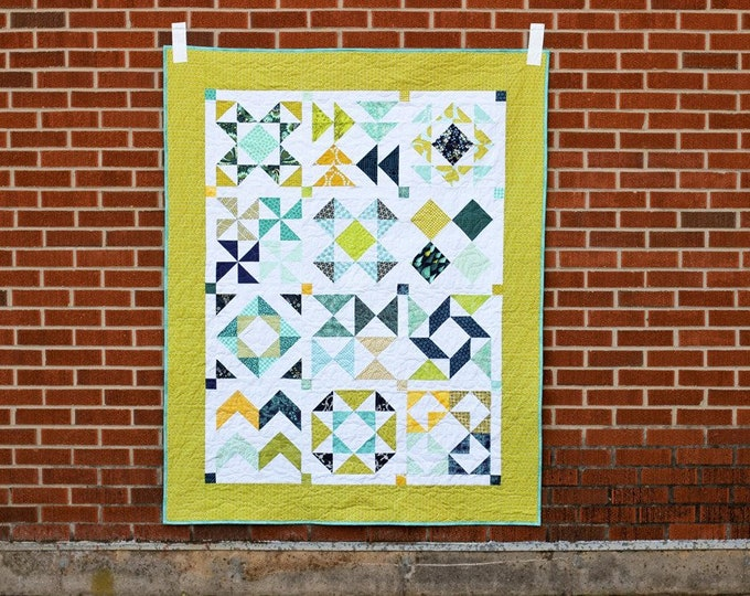 Half-Square Triangle Sampler Quilt by Jeni Baker, In Color Order