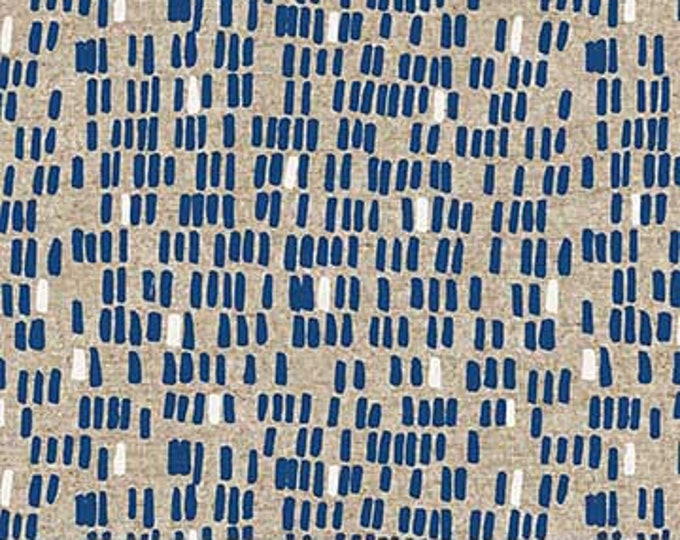 Surface pebbles -blue on tan linen/cotton by Amy Van Luijk for Figo