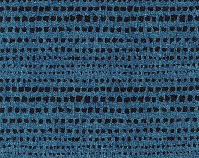 PEACOCK Linen/Cotton strokes by Anna Graham from Driftless for Robert Kaufman Fabrics