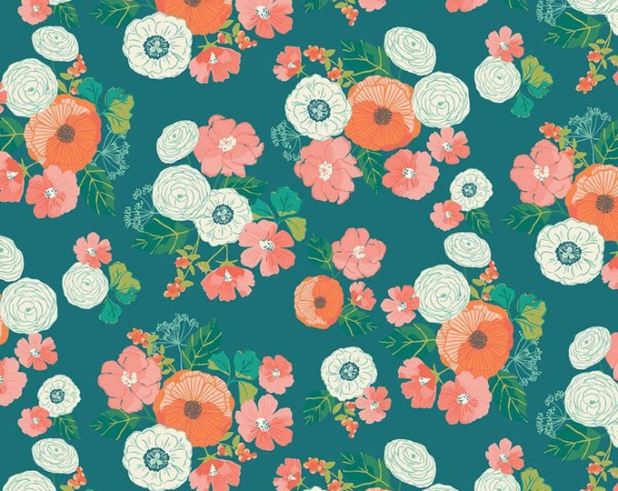 Midsummer Meadow Wild Bouquet Teal by Katherine Lenius for Riley Blake Designs