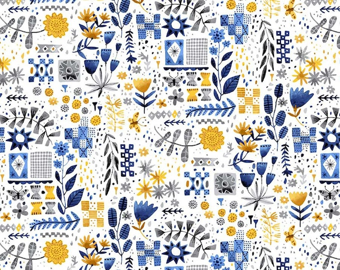 Eloise's Garden Tiles and Flowers White and Yellow by Abigail Halpin for Figo