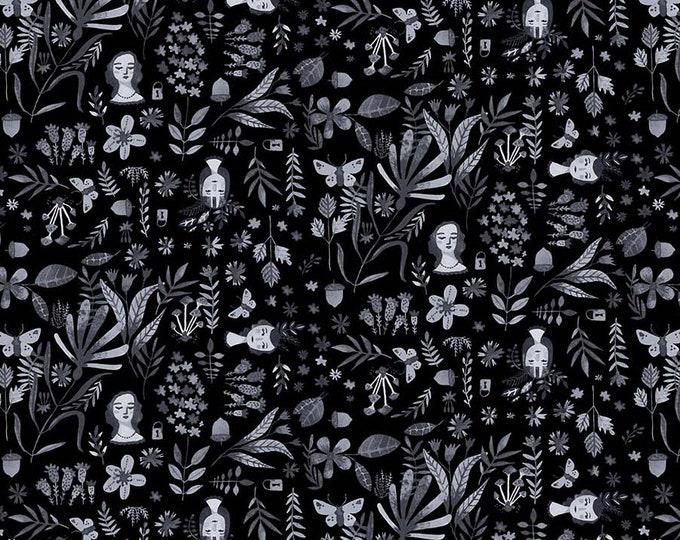 Eloise's Garden Heads And Flowers Black by Abigail Halpin for Figo