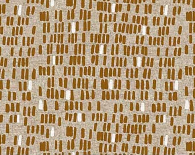 Surface pebbles -ochre on tan linen/cotton by Amy Van Luijk for Figo
