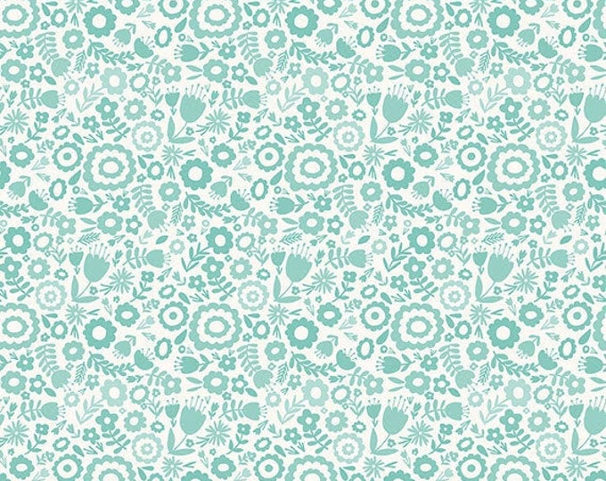 Heart and Soul Floral Aqua, by Denna Rutter for Riley Blake