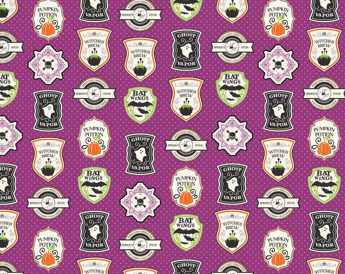 Eek Boo Shriek Purple Badge, by Riley Blake Designs