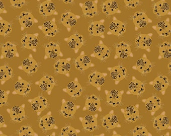 Main Butterscotch Sparkle Leopard Head from Spotted  by Kate Blocher for Riley Blake Designs