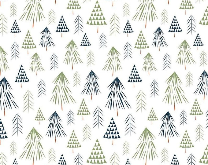 In the Forest Trees WHITE for Riley Blake Designs