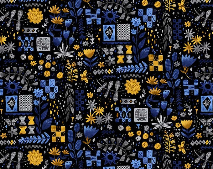 Eloise's Garden Tiles and Flowers Black and Yellow by Abigail Halpin for Figo