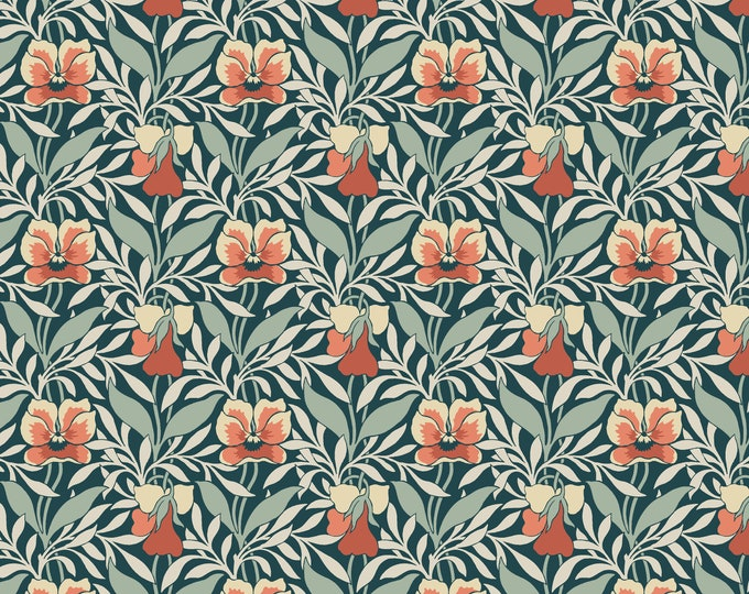Harriet's Pansy - Green/ Red for LIberty Collection for Riley Blake