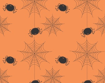 Holiday Banner Spider Webs Orange, by RBD Designers for Riley Blake