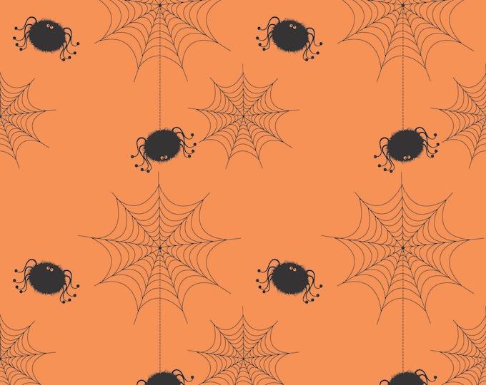Holiday Banner Spider Webs Orange, by RBD Designers for Riley Blake