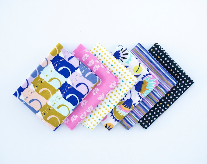 Oh Meow  - Curated bundle - 6  fat quarters