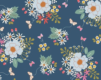 Wild Bouquet Navy Main - by Citrus & Mint Designs for Riley Blake