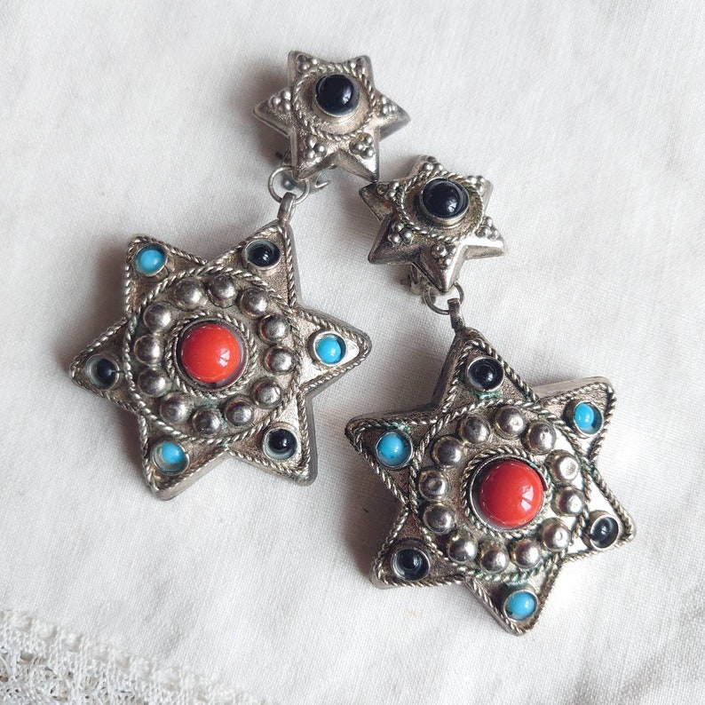 Large vintage ear clips in silver metal stars ethnic style