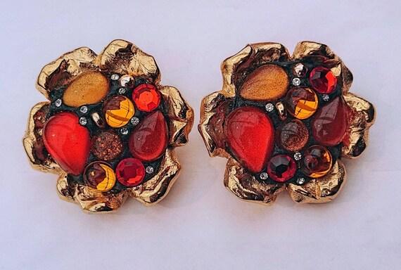 JACKY DE G vintage earrings with orange clip
