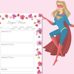 Super Mum Todo List Silver - Flower Todo List - To Do List Planner - Daily Planner | INSTANT DOWNLOAD!