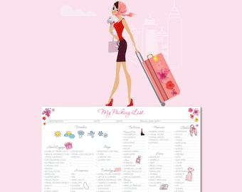 My Packing List SILVER - Flower Todo List - Organize your suitcase | INSTANT DOWNLOAD!