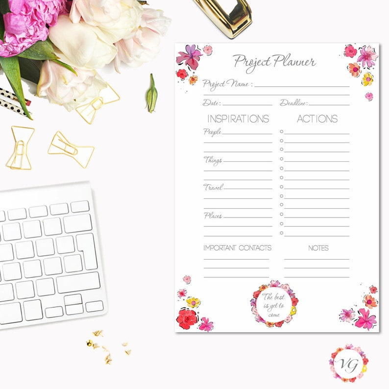 Project Planner Silver  Flower Todo List  To Do List Planner image 0