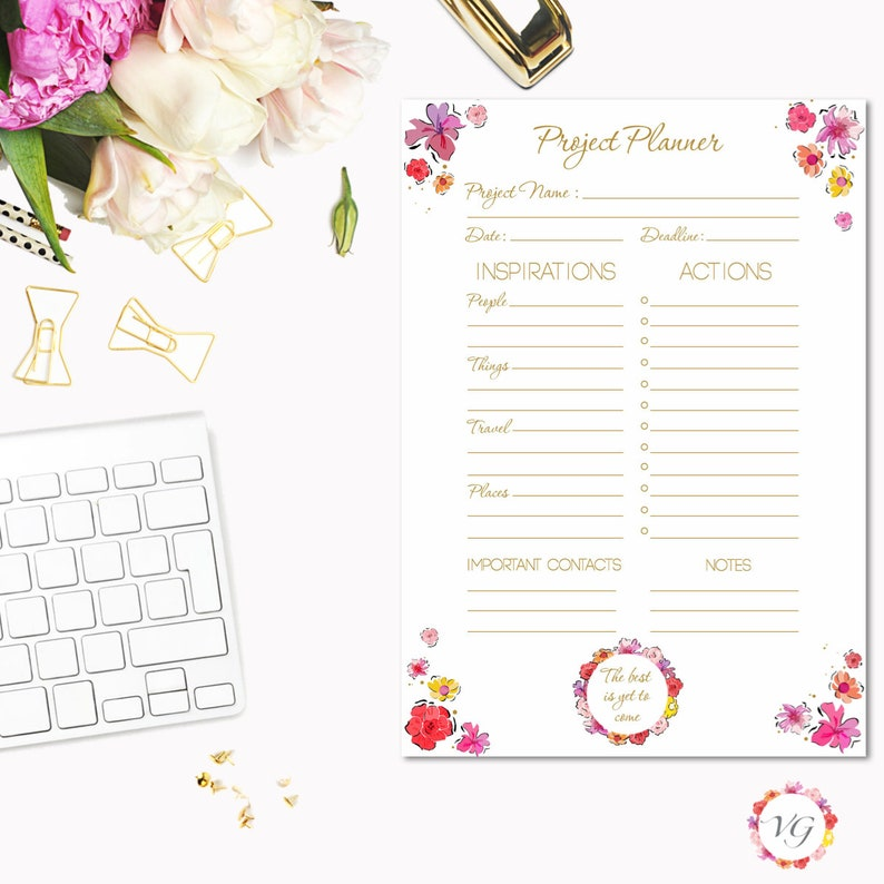 Project Planner Gold  Flower Todo List  To Do List Planner  image 0