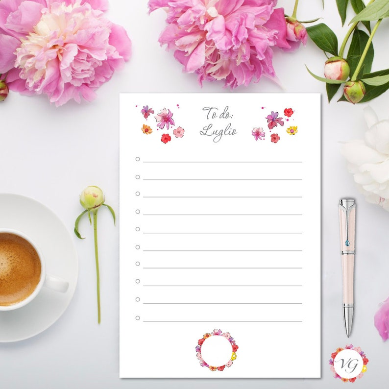 July Todo List  Flower To Do List  INSTANT DOWNLOAD image 0