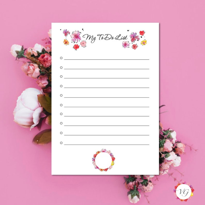 My Todo List Black  Flower Todo List  To Do List Planner  image 0
