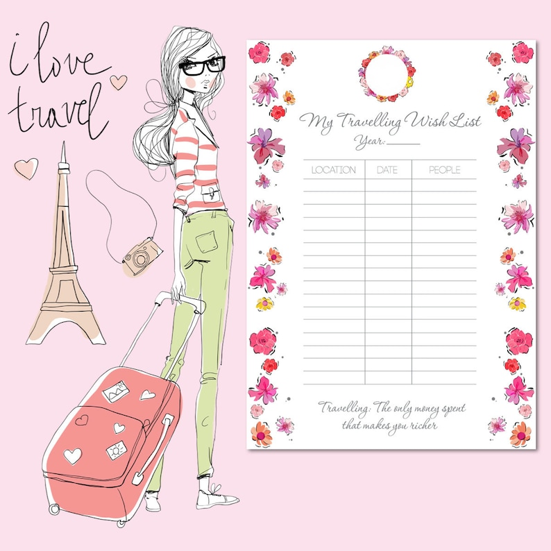 Travelling Wish List SILVER  Flower Todo List  To Do List image 0